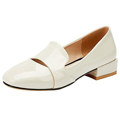 SUCREVEN Mujer Tacón Ancho Oficina Trabajo Zapatos Punta Redonda Transparente Peas Zapatos Sin Cordones Tops Loafers Zapatos Huise 35 EU