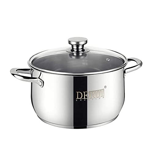 Stock Pot with Lids,DERUI CREATION 4 Quart Food Grade SUS 304 Stainless Steel Stockpots for Cooking Dishwasher Safe Soup Pots(22CM)