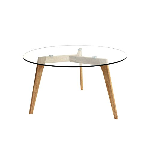 THE HOME DECO FACTORY Table Ronde, Bois/Verre, Transparent/Marron, 80 x 80 x 45 cm