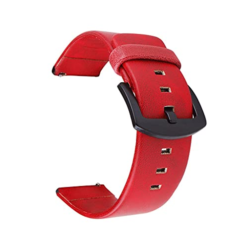 HGVVNM 20mm 22mm Strap Watch Vintage Leather Watch Band Replacements Bracelet (Color : Red, Size : 20mm)
