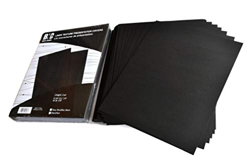 BNC Linen Texture Paper Presentation Covers, 8.75 Inches by 11.25 Inches, Black Color, Pack of 100