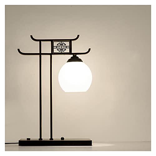 lámpara de noche Lámpara de mesita de noche Lámpara de escritorio de cabecera creativa con base de metal de hierro y forma de lámpara de vidrio para el interruptor de botón de la oficina de la oficina