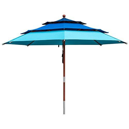 anndora Sonnenschirm 3-lagig 3 m rund DREILADREI Gartenschirm - in 3 Blau Nuancen 3 Etagen edles Teakholz