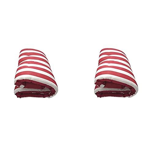 Pack de 2 Cojines de Tumbona Acolchada de Rayas 180 x 50 X5 cm Colchón Texturas Colchoneta Tumbona (Rojo)