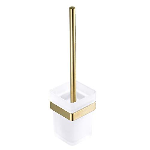 WOMAO Quadratisch Toilettenbürstenhalter mit Becher und Bürste, alle Edelstahl und Glas Konstruktion Gebürstet Gold Finished Wandmontieren Bohren WC
