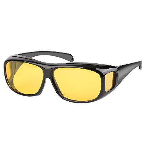 Hospaop Nachtsichtbrille für Autofahrer, getönte polarisierende Gläser, gemäß ISO Norm, Hülle und Gebrauchsanleitung für scharfes Sehen bei schwierigem Licht (Gelb)