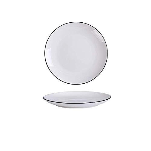LTCTL Stoviglie in ceramica per uso domestico nordico europeo Semplice nero nero piatto posate bianco H 10 pollici