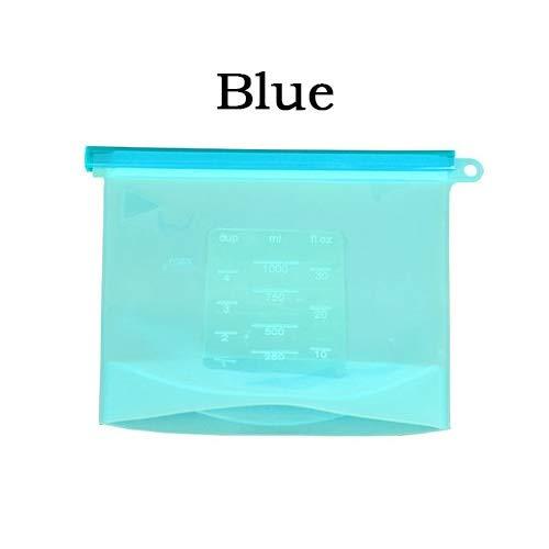 Starry sky Bolsa 4PCS de la Cocina de Sellado de Bolsas de Almacenamiento de Silicona conservación de Alimentos Frescos Bolsa Nevera Microondas Calefacción Cocina Versátil (Color : Blue)