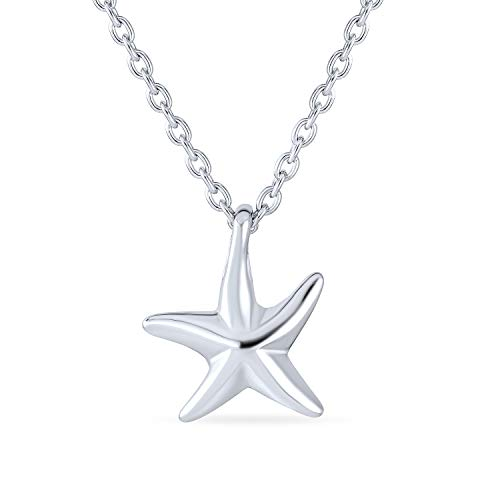 Nautical Small Starfish Beach Pendant Necklace For Women For Teen Girlfriend Polished 925 Sterling Silver