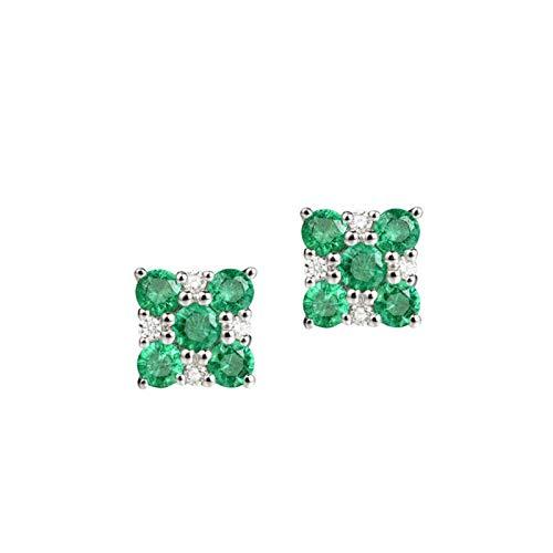 Daesar Pendientes de Mujer Plata Verde Pendientes Mujer Oro Blanco 18K Cuadrado Esmeralda Verde 0.552ct Diamante 0.07ct