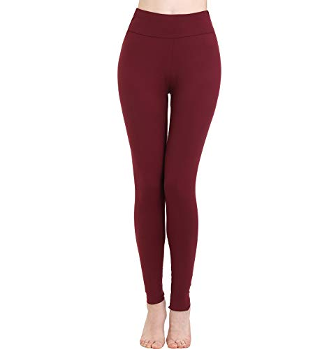 High Waisted Leggings for Women-Elastic Opaque Slim-Buttery Basic Yoga Leggings & Plus Size (Plus Size(XL-XXL), Wine Red)