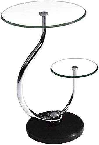 High Stool 2-Tier Tempered Glass Modern Round Accent Side Coffee End Table for Living Room Dining Room Tea Home Décor W/Metal Frame