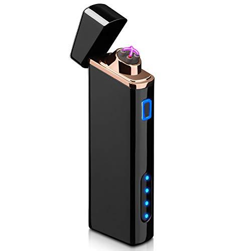 DazLands Encendedor eléctrico con Pantalla de batería Recargable por USB, Encendedor de Arco, Resistente al Viento, Encendedor de Plasma, para Fuego/Cigarrillos, Velas