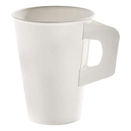 160 Stk. Henkelbecher Kaffeebecher weiß, Pappe beschichtet, 180 ml / Soll's ein wenig eleganter sein? Caféhaus-Flair versprüht dieser Henkelbecher. Er verbindet die hohe Stabilität des Bechers mit dem komfortablen Handling einer Porzellantasse.