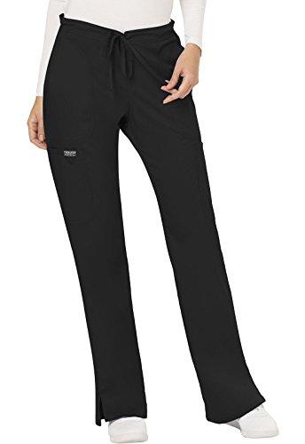 CHEROKEE Women's Mid Rise Moderate Flare Drawstring Pant, Black, Medium