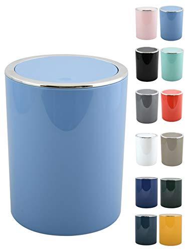 MSV Bad Serie Aspen Design Kosmetikeimer Bad Treteimer Schwingdeckeleimer Abfallbehälter mit Schwingdeckel 6 Liter (ØxH): ca. 18,5 x 26 cm Pastell Blau
