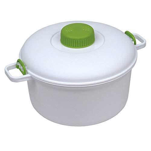 Ossian Mikrowellen-Schnellkochtopf, groß, 2,8 l, kompakt, einfach zu kochen, Mikro-Küchen-Meister mit Messbecher, Spatel und Rezeptbuch – gesunde und schnelle Art, gute Lebensmittel zu kochen