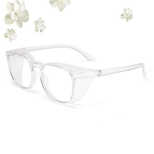 Gafas de seguridad de gran tamaño con protectores laterales anti niebla, pulverización y polvo, marco grande anti rayos azules y gafas de seguridad UV para el trabajo