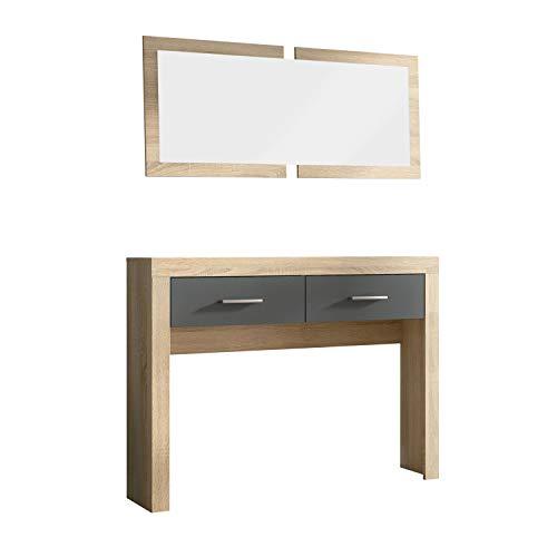HomeSouth - Recibidor Dos cajones y Espejo, Mueble de Entrada Acabado en Cambria y Grafito, Modelo Lara, Medidas: 115 cm (Largo) x 26 cm (Fondo) x 85 cm (Alto)