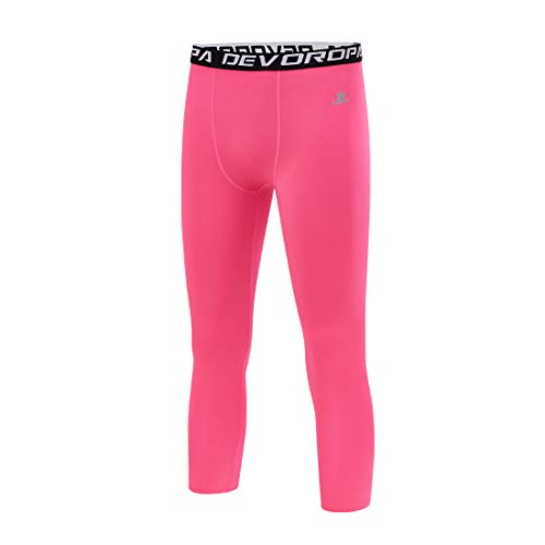 Devoropa Youth Boys Compression Pants 3/4 Length Sports Tights Leggings Soccer Basketball Base Layer Pink S