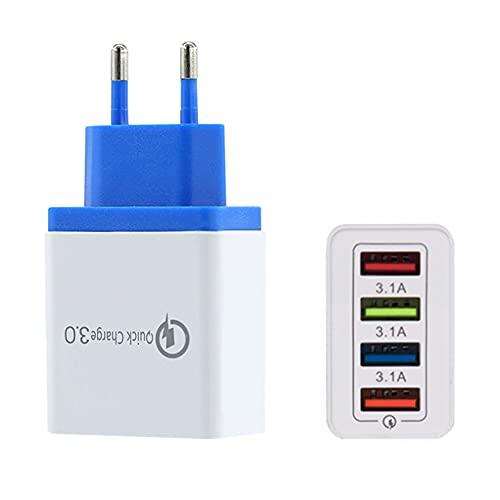 iSinofc Cargador USB de 4 Puertos, Enchufe de Fuente de alimentación USB múltiple de 30 W, Adaptador de Carga de Cargador rápido QC3.0 para computadoras portátiles Phone etc