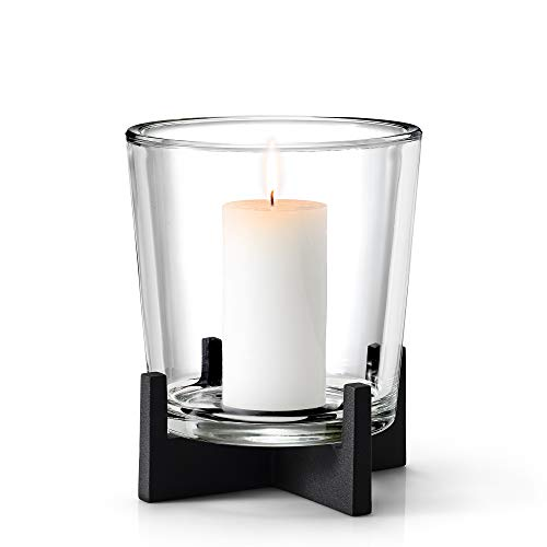 blomus -NERO- Windlicht L aus pulverbeschichtetem Stahl mit Glas, moderner Kerzenhalter mit hochwertiger Verarbeitung, stilvolles Wohnaccessoire Dekoration (H / B / T: 23 x 19 x 19 cm, Schwarz, 65552)