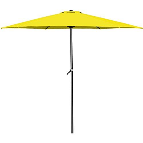 Deuba® Sonnenschirm Aluminium Ø300cm mit UV-Schutz 40+ inkl. Kurbel + Dachhaube mit Neigevorrichtung gelb - Kurbelsonnenschirm Marktschirm Gartenschirm
