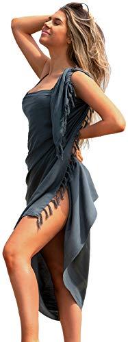 Tajenda Full Length Beach Sarongs for Women Handmade Beach Wrap Cover-Up and Women's Swimwear Cover Ups Bikini Wrap Womens Swimsuit Sarong Skirt Gray Versatile Pareo Wraps