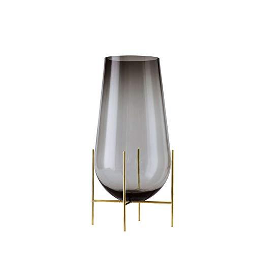 Échasse Vase M, rauchgrau H 45cm Ø 22cm Gestell Messing gebürstet