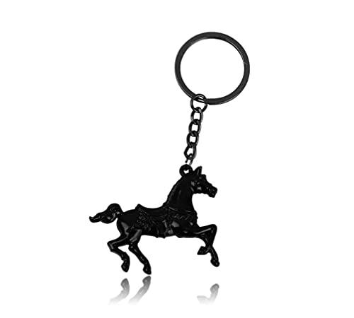 Familienkalender Llavero 3D de caballo, 5 cm, de metal, para jinete, caballo, regalo, deporte, equitación, animal, color negro