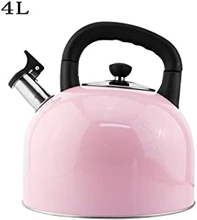 Stovetop Kettle with Whistle / 304 Stainless Steel Stovetop Teakettle/with Cool Toch Ergonomic Handle/for All Hob/Stove Types Including Induction Home Camping (Color : Pink, Size : 5L)