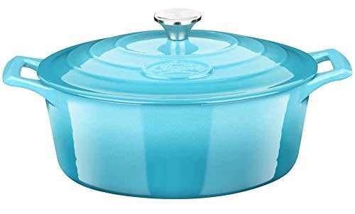 La Cuisine 6175MB Premium Enameled Cast Iron Covered Oval Dutch Oven, Pot, Casserole, French Oven, 5-Quart (QT) - Matte Black Enamel Coating Finish Interior, Pale Blue Porcelain Enamel Exterior