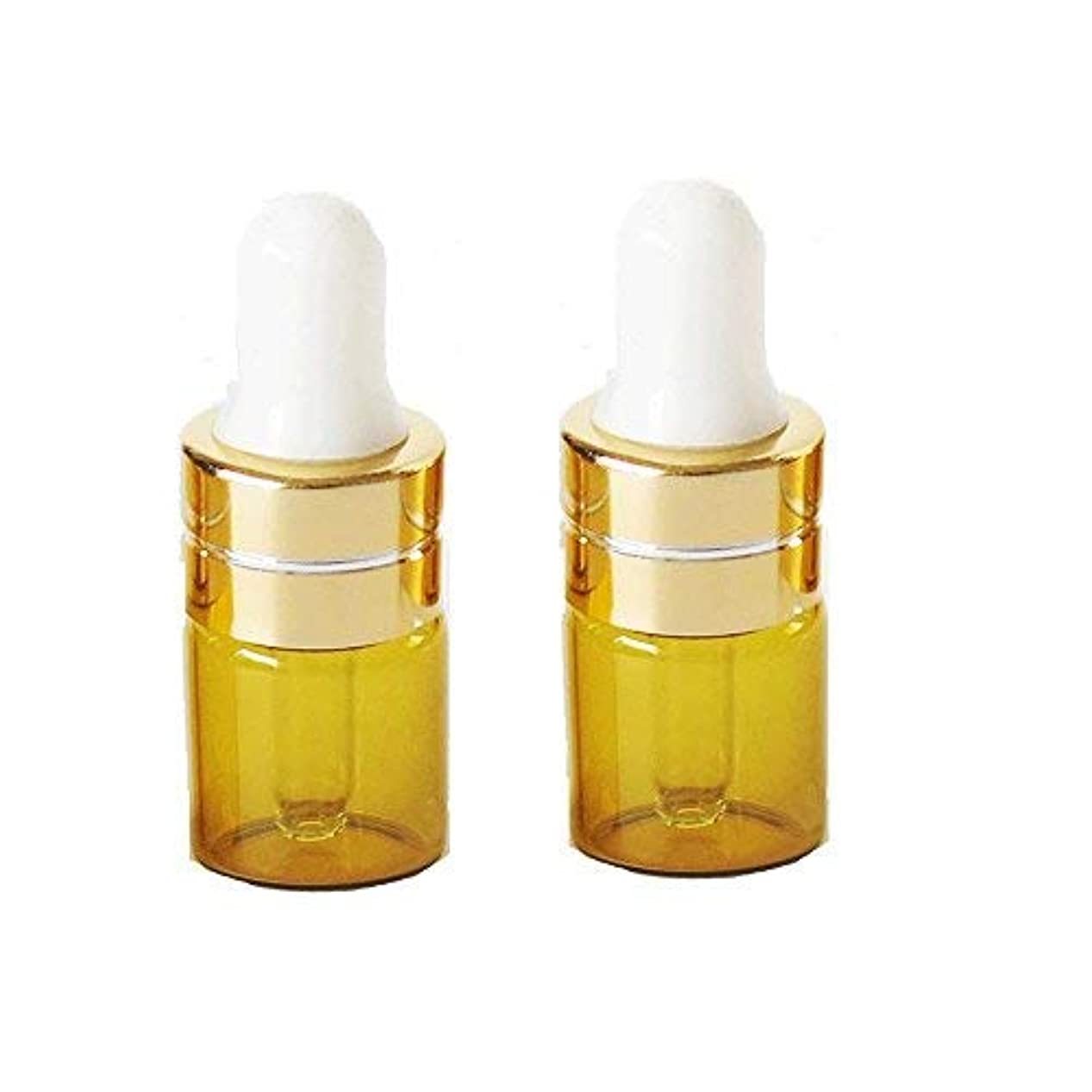 肌寒いシャベルインセンティブGrand Parfums 1ml Amber Glass Dropper Bottles with Gold Caps and White Bulb for Essential Oil, Serums, Makeups (12 Sets) (6 Sets) [並行輸入品]