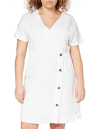 Tommy Hilfiger Linen Tencel SS Dress Vestido, Blanco (White 658-170 Ybr), 42 para Mujer