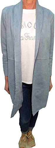 Pink Cherry Damen Mantel Überwurf Cardigan Lange Jacke Velours Optik Schalkragen blau