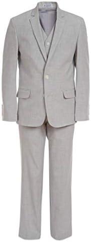 Calvin Klein Boys Big 3 Piece Formal Suit Set Silver Metal 10 product image