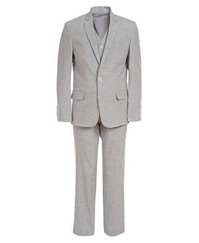 Calvin Klein Boys' Big 3-Piece Formal Suit Set, Silver Metal, 14
