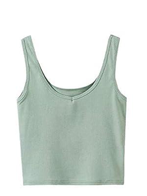 SweatyRocks Women's Sleeveless Casual Ribbed Knit Shirt Basic Crop Tank Top (Medium, Green)