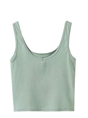 SweatyRocks Women's Sleeveless Casual Ribbed Knit Shirt Basic Crop Tank Top (Small, Green)