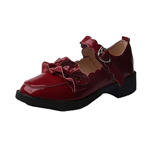 Zapatos de Vestir para Mujer, Zapatos de Corte con Correa con Hebilla Antideslizante a la Moda, patrón de Volantes Dulces, Zapatos Lolita Mary Jane