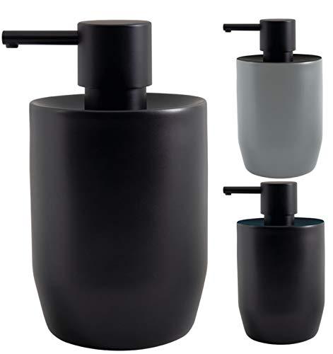 Spirella Seifenspender Jaro mit Edelstahlpumpe Flüssigseifen-Spender Porzellan 300ml Langliebig und Robust Schwarz
