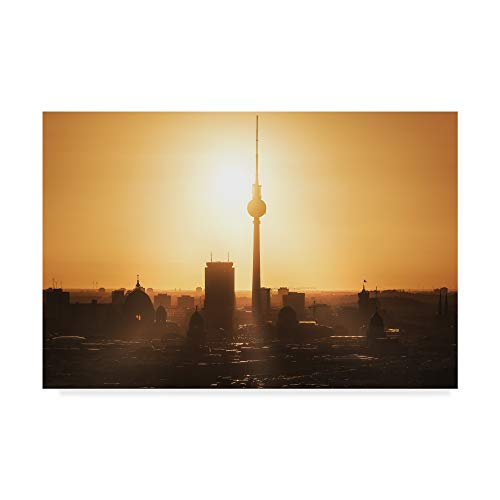 Trademark Fine Art Berlin Skyline Sunrise by Jean Claude Castor, 16x24-Inch, 16x24