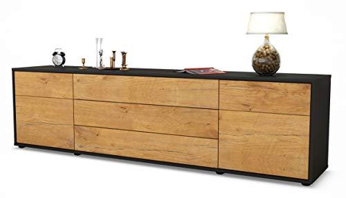 Stil.Zeit TV Schrank Lowboard Benita, Korpus in anthrazit matt/Front im Holz-Design Eiche (180x49x35cm), mit Push-to-Open Technik und hochwertigen Leichtlaufschienen, Made in Germany