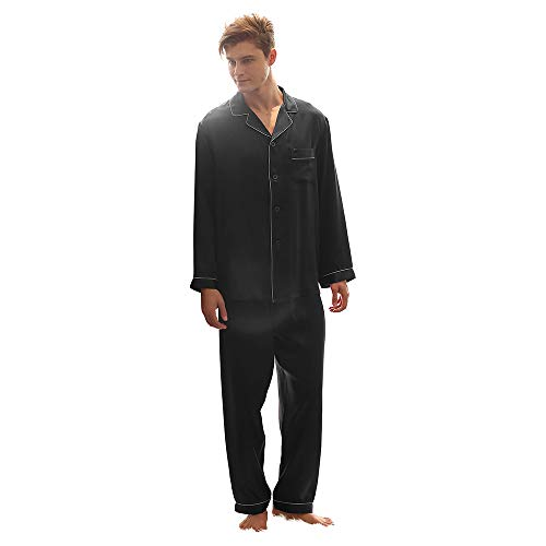 LEIQIA Pijamas de Seda para Hombres Establecen Ropa de Dormir Suave Tops de Manga de Seda Hombres Pijama Homewear Trajes de Verano Azul Marino S