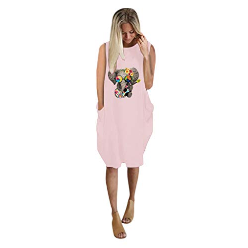 Vestido Camiseta Mujer Casual Suelto Mini Vestido Corto Fiesta sin Manga Estampadas Talla Grande Bolsillos en Verano Túnica Elefante Cómodo Jumper Yvelands(Rosado,XXXL)