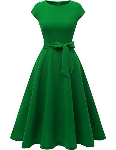 DRESSTELLS Partykleid Midi 1950er Vintage Retro Rockabilly Kleid Damen elegant Hochzeit Cocktailkleid Green XL