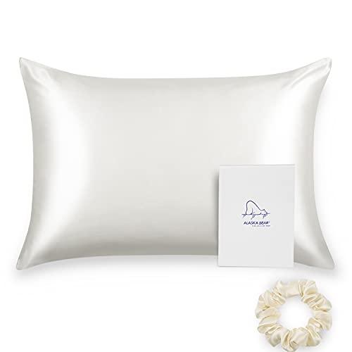 ALASKA BEAR 100% Mulberry Silk Pillowcase for Hair and Skin Health, Hypoallergenic, Standard Size...