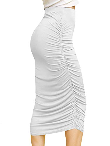 Made By Johnny WB1147 Womens Elegant High Waist Pencil Skirt with Side Shirring XL White