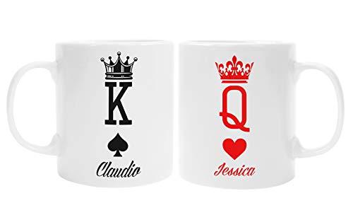 Colorfamily Coppia Tazze Mug SanValentino Personalizzabile King & Queen - Re di Picche e Regina di Cuori - personalizza con Nome - Idea Regalo per Lui e lei