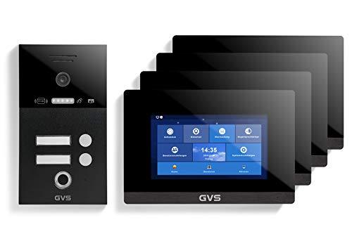 GVS Videoportero IP IP65 con RFID y huellas dactilares, pantalla de 4 x 7 pulgadas, aplicación, cámara HD de 120°, apertura de puertas, memoria de 32 GB, interruptor PoE, set de 2 casas, AVS5290A